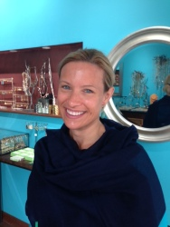 Andrea in green turquoise earrings