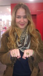 Rosa wearing the Cheetah Ring and Stacking Rings