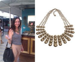 Margit added the Antiqued Gold Collar to her chic tank and shorts look.