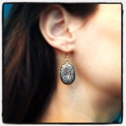 metallic jeweled earrings