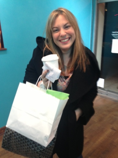 Katie came in to pick up a gift!