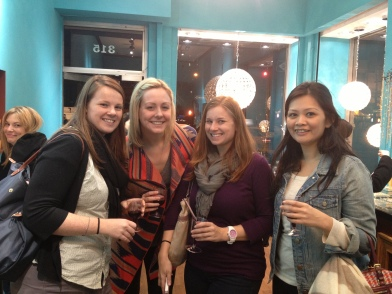 Jeniece, Kristen, Carissa, and Natalia enjoyed some wine for their girls' night.