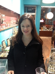 The raffle winner, Stephanie, looked gorgeous in our new large gold circle necklace.