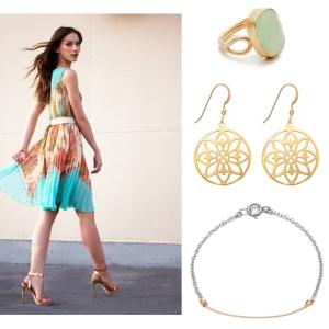 Light Green Chalcedony Jewel Adjustable Ring Gold Gilded Flower Earrings Gold Bar Silver Bracelet