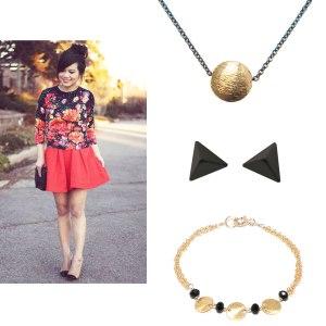 Gold Brushed Dot Hematite Necklace Black Pyramid Stud Earrings Gold Triple Disc Onyx Bracelet