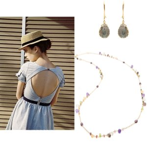 Gray Pear Shape Drop Gold EarringsLong Jeweled Dew Droplets Gold Necklace