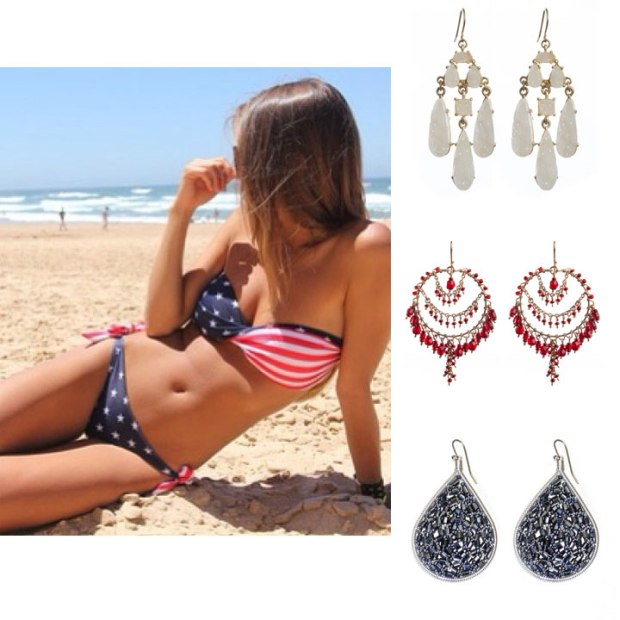 If you are going to the beach, we always think a pair of statement earrings look great with your swimsuit. Try the White Druzy Chandeliers, the Cranberry Round Chandeliers, or the Navy Ipanema Teardrops to stay with the USA color scheme.