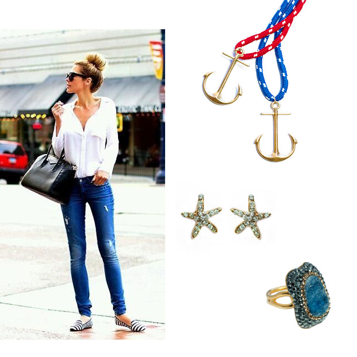 Take the liberty to sport a nautical style. Plain jeans and white shirt spruc up an anchor on the red or blue rope necklace, some sparkly starfish studs, and this blue kyanite ring that looks like  waves in the ocean..