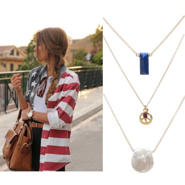 Layering up some red, white, and blue necklaces that you can keep wearing past the holiday. The fireworks shouldn't have to get all of the attention! We like the Blue Lapis, Gold Peace Sign with a Garnet nugget, and the Free-Form Pearl necklaces together.