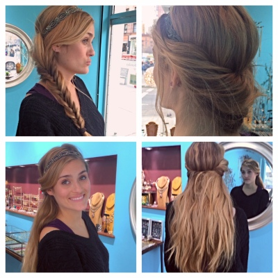 liz braid and down tucked hairband look