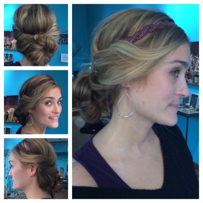 Liz with bun and maroon braided hairband